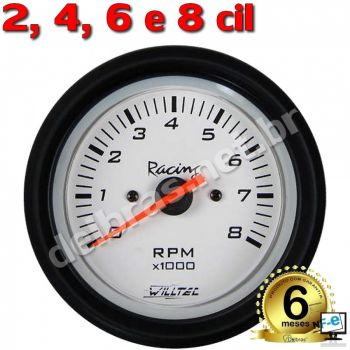 Contagiro Willtec 8.000 RPM 2/4/6/8 Cil. Carb/Inj - ø52mm - Fundo Branco/Aro Preto - Willtec