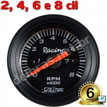 Contagiro Willtec 8.000 RPM 2/4/6/8 Cil. Carb/Inj - ø52mm - Fundo Preto/Aro Preto - Willtec