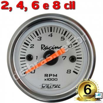 Contagiro Willtec 8.000 RPM Inj/Carb 2/4/6/8 Cil. - ø52mm - Fundo Branco/Aro Inox  - Willtec