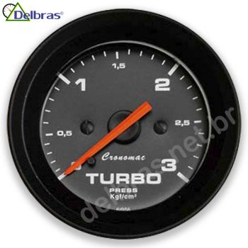 Pressão do Turbo 3Kgf/cm² - ø52mm - Cronomac preto