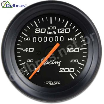Velocímetro 200Km/h C/ Led - ø85mm (Ford/GM/Willys/Jeep/ W=0.625) - aro preto e fundo preto