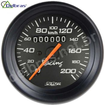 Velocímetro 200km/h C/ Led - ø100mm (Ford/GM/Willys/Jeep/ W=0.625) - aro preto e fundo preto