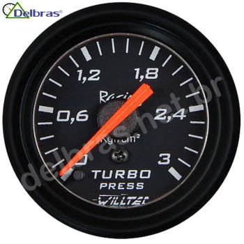 Pressão Turbo 3kg ø52mm C/ Led - fundo preto e aro preto Racing