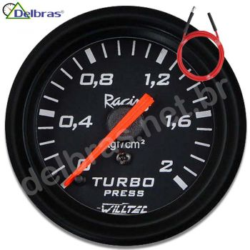Pressão Turbo 2kg ø52mm C/ Led - fundo preto e aro preto Racing - C/ Kit Mangueira