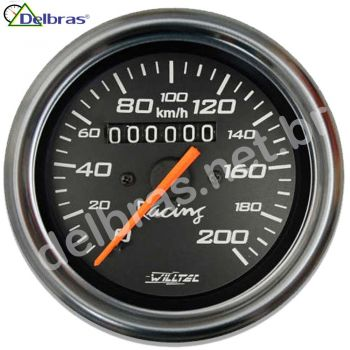 Velocímetro 200Km/h C/ Led - ø85mm (Ford/GM/Willys - W=0.625) - Fundo Preto Aro Inox