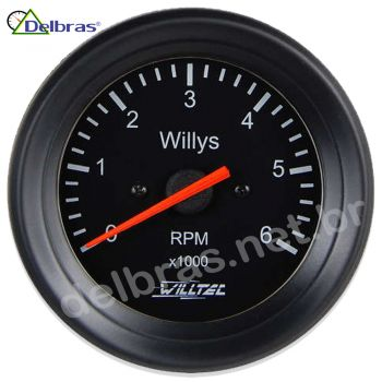 Contagiro Willtec 6.000 RPM 6Cil Carb/Inj - ø52mm - Aro Preto/Fundo Preto Willys