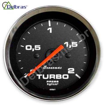 Pressão do Turbo 2Kgf/cm² Cronomac Cromado Preto - ø52mm