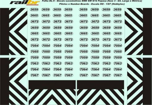 Decal Pilotos e Number-Boards Locomotiva G12 FEPASA Fase III - RAILBR - DL5