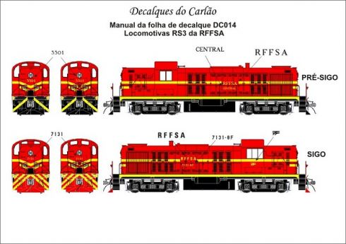 Decal Locomotiva RFFSA RS-3 - CARLÃO - DC014