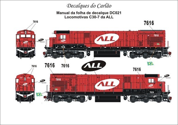 Decal Locomotiva ALL C30-7 - CARLÃO - DC021  - foto principal 1