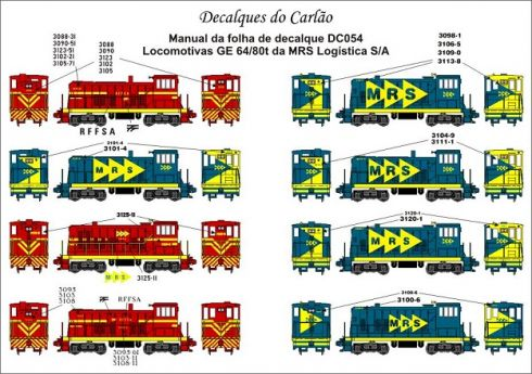 Decal Locomotiva MRS GE 64 /80 Ton - CARLÃO - DC054