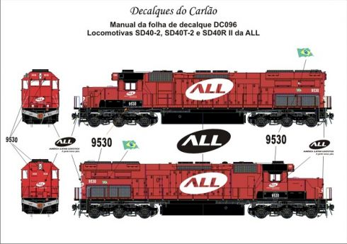 Decal Locomotiva ALL SD40-2 / SD40T-2 / SD40R - CARLÃO - DC096