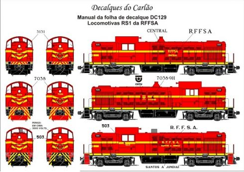 Decal Locomotiva RFFSA RS-1 - CARLÃO - DC129
