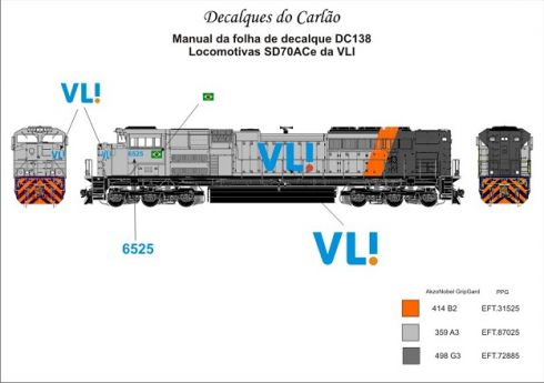 Decal Locomotiva VL! SD70ACe - CARLÃO - DC138
