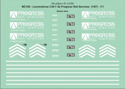 Decal Locomotiva PROGRESS RAIL C30-7 - CARLÃO - MC185ATL  - foto 2