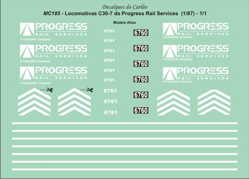 Decal Locomotiva PROGRESS RAIL C30-7 - CARLÃO - MC185ATL  - foto principal 2
