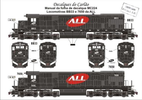 Decal Locomotiva ALL BB33 e 7650 - CARLÃO - MC224