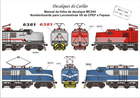 Decal Number Boards Locomotiva CPEF E FEPASA V8 - CARLÃO - MC244