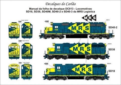 Decal Locomotiva MRS SD-18 / SD38M / SD40M-2 / SD40-2 / SD40-3 - CARLÃO - DC013
