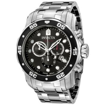 Invicta Mens 0069 Pro Diver Collection Chronograph Stainless Steel Watch