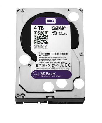 HD Interno WD Purple 4TB (Ideal para vigilância): WD40PURX
