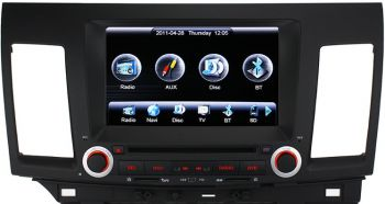 DVD + GPS + Tela de 8'' Alta Resolução + PIP + Touchscreen + Bluetooth + TV + RDS - Mitsubish Lancer Evolution X - 2008 a 2011
