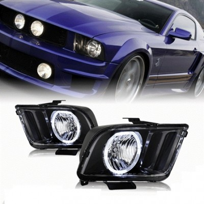 Farol Angel Eyes Black Ford Mustang GT 4.6 - 2005 a 2009