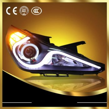 Farol Black LED Angel Eyes Projetor com Xenon 5000k Hyundai Sonata - 2011+