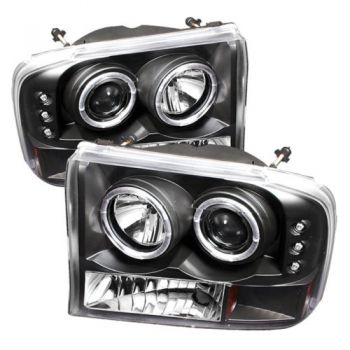 Farol Black LED Angel Eyes Projetor Ford F250