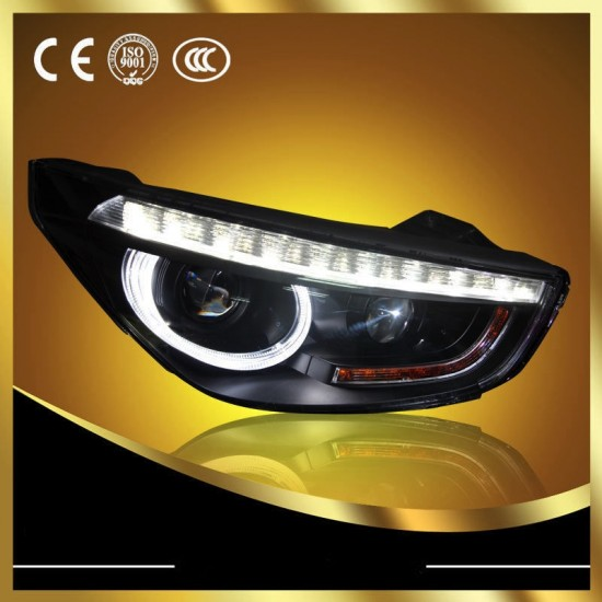 Farol Black LED Projetor Angel Eyes com Xenon 5000k Hyundai iX35 - 2010+