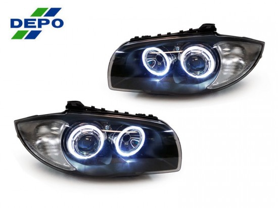 Farois Projetor Black Angel Eyes BMW E82 E88 118i 120i - 2004 a 2012