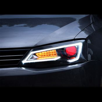 Farol Black LED Devil Eyes Xenon VW Jetta MK6 - 2012+