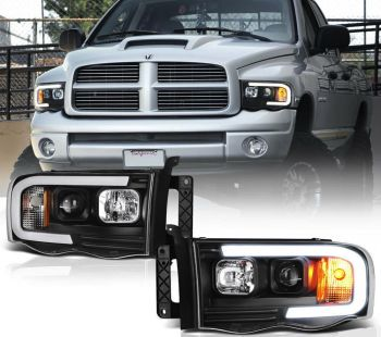 Farol Black LED DRL V1 Dodge RAM - 2002 a 2005