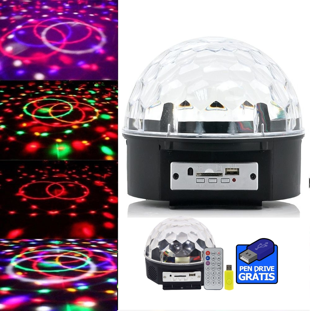 Bola Maluca Magic Ball Led RGB Holográfico USB Pen Drive