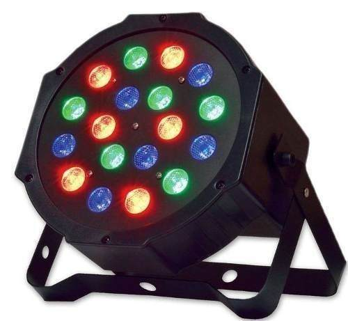 Refletor Led Par 64 RGB 18 Leds 1w DMX Digital Strobo Slim
