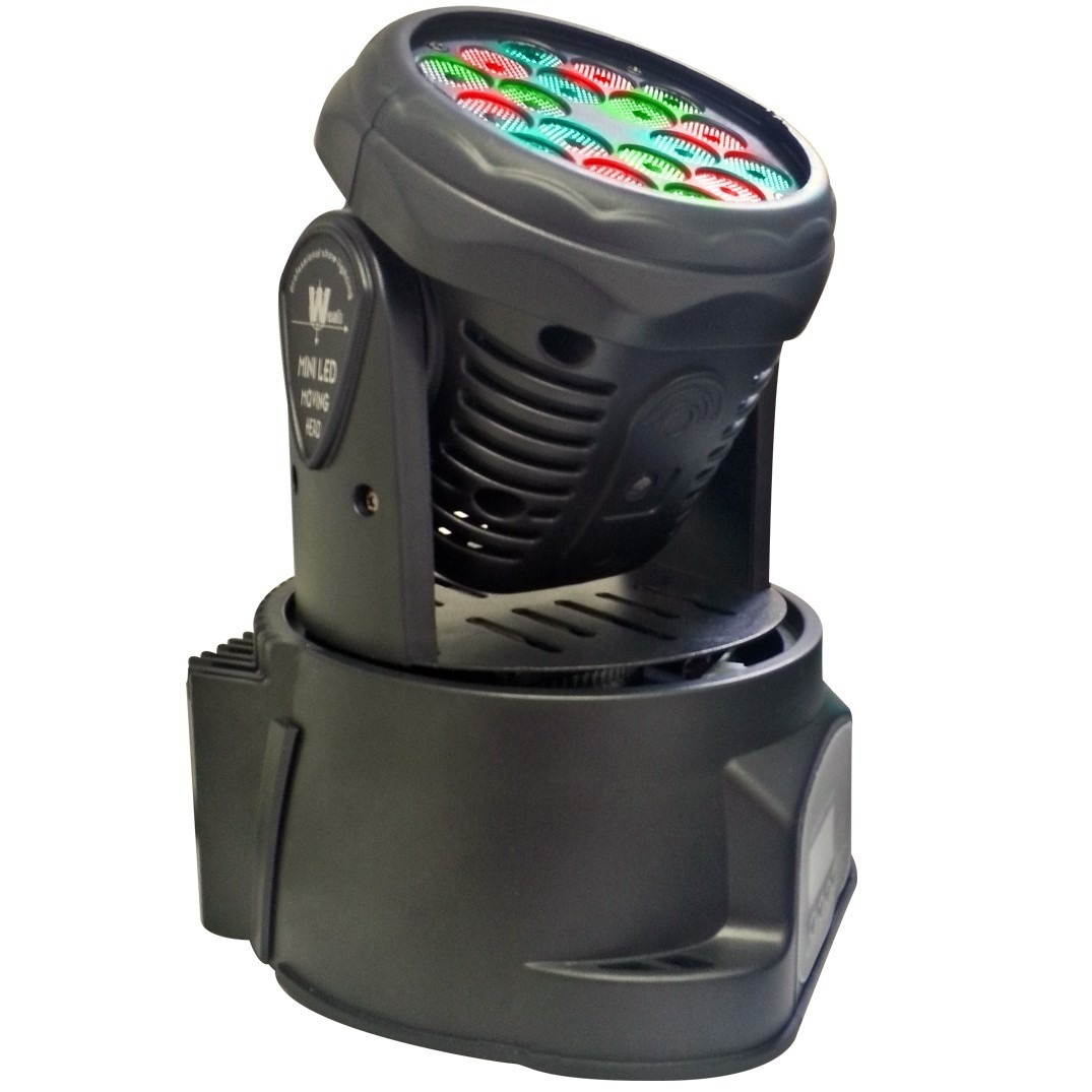 Mini Moving Head Wash RGB 18x1W DMX Sensor Rítmico