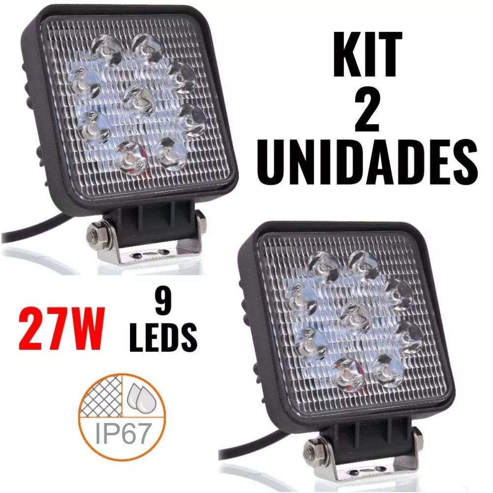 Kit 2x Farol Milha QD 9 Led Cree 27w 12/24V Troller Off Road