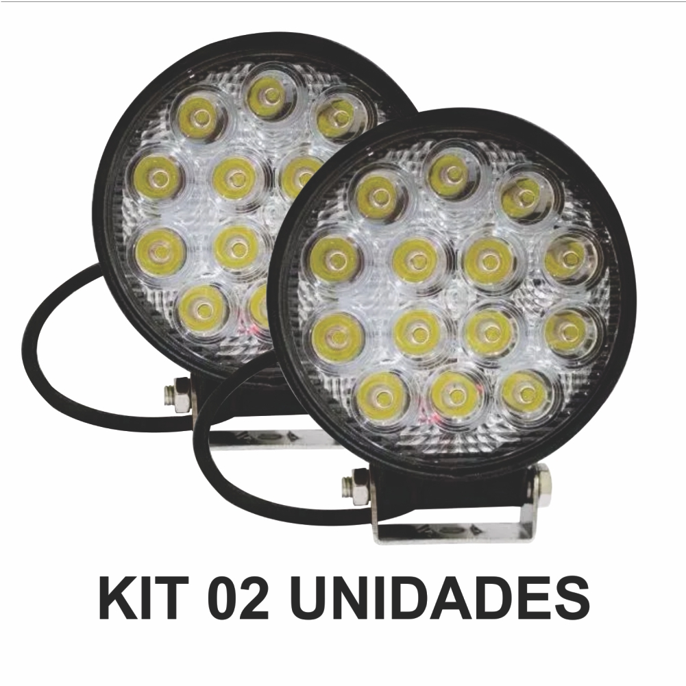 Kit 2x Farol Milha RDD 14 Led Cree 42w 12/24v Troller Off Road