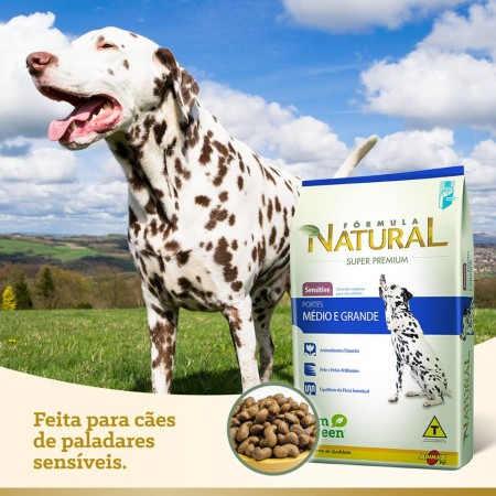 RAÇÃO FÓRMULA NATURAL SENSITIVE PORTE MEDIO E GRANDE 14KG