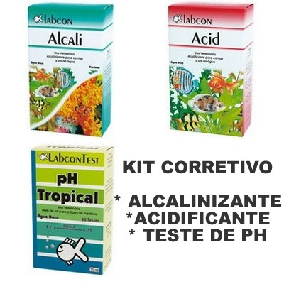ALCON KIT CORRETIVO ACID + ALCALI + TESTE PH 15ML