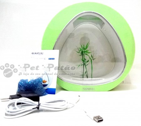SUNSUN MINI AQUARIO YA-01 LED USB ACRILICO VERDE 4 LITROS BIVOLT - PET PATAO