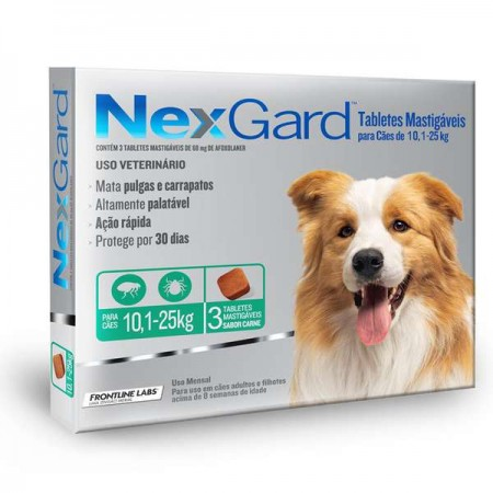 NEXGARD TABLETE MASTIGAVEL CONTRA PULGAS E CARRAPATOS 10-25KG COM 3 TABLETES