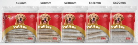 PET WORKS PALITOS RIGIDOS NATURAL 6MM 500G