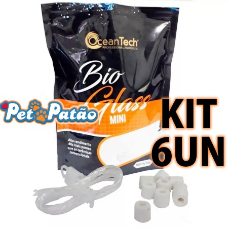 KIT 6UN BIO GLASS MINI 11MM 100ML SACHE 70G OCEAN TECH - MIDIA FILTRANTE VIDRO SINTERIZADO
