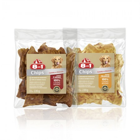 8IN1 - KIT OSSO CHIPS FRANGO 220G + CARNE 220G