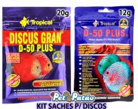 Kit Discus D-50 Gran 20g + Flakes 12g Tropical Importada