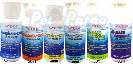 MYDOR KIT PHOSPHATE EASE + AMMONIA EASE + DECHLOR EASE + CLEAR EASE + INCREASE EASE + DECREASE EASE 30ML - UN
