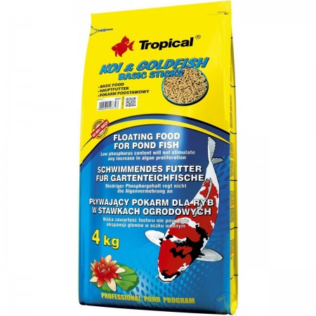 TROPICAL KOI & GOLDFISH BASIC STICKS SACO 4KG - UN