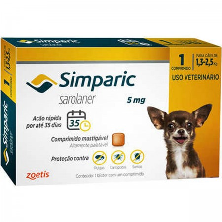SIMPARIC 5MG 1,3 A 2,5KG  1CP - ANTIPULGAS PALATAVEL