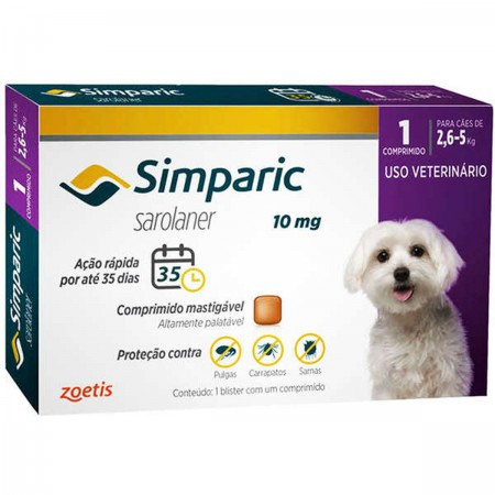 SIMPARIC 10MG  2,6 A 5KG  1CP - ANTIPULGAS PALATAVEL